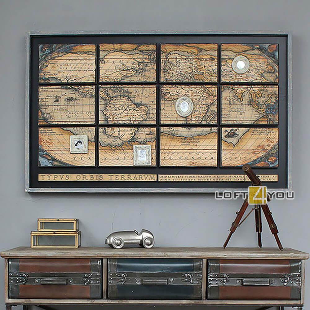 Декор на стену «Карта с фоторамками»