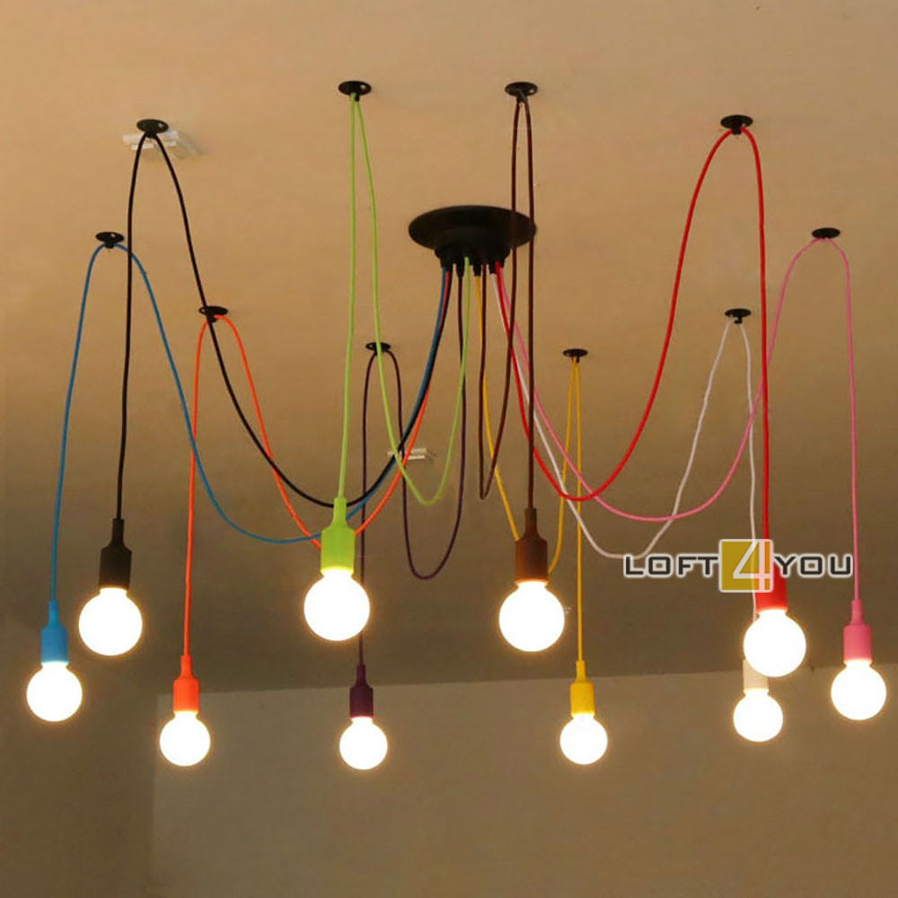 Industrial Edison Chandelier Multicolor