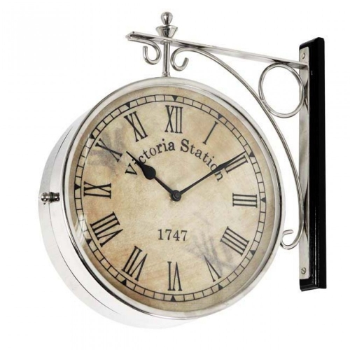 Clock Station 28 Cm Nickel Finish 104408