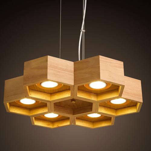 Подвесной светильник LOFT Honeycomb Wooden Ecolight