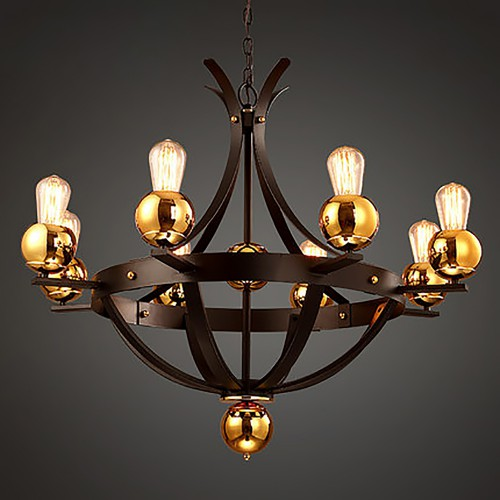 Red Gold Ball Chandelier